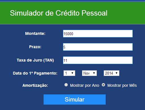 Simulador de crédito pessoal